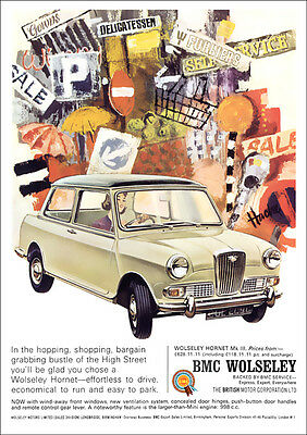 Wolseley Hornet Mk3 Retro A3 Poster Print From Classic 60's Advert