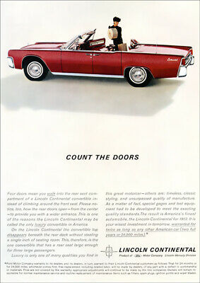 Lincoln Continental 62 Convertible Retro A3 Poster Print From Advert 1962