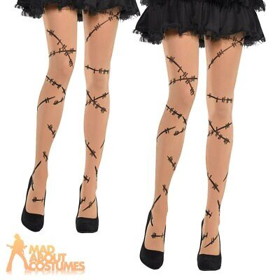 Adult Stitched Up Tights Halloween Zombie Ladies Fancy Dress Accessory New