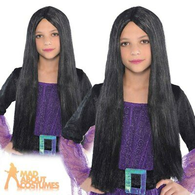 Child Witch Wig Long Black Halloween Girls Fancy Dress Accessory New