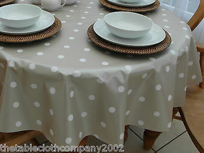 140 x 200cm Oval Wipe Clean PVC Tablecloth - Champagne Polka Dot