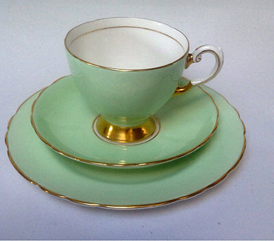 TUSCAN vintage china Teaset  Teacup Saucer Teaplate Trio  Green Gold Quality Eng