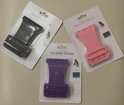 Tablet, Mobile Folding Stand, Hands Free Holding, PINK, PURPLE, BLACK-USA SELLER