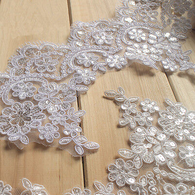 Bridal Lace Trimming Embroidered Trim Ribbon Silver Wedding Floral Edging 6.1""