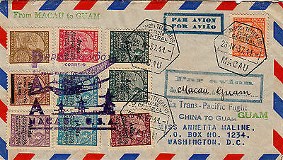 First Flight Air Mail Cover Macau To Guam 1937