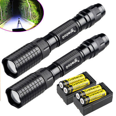 2PC Tactical Police 90000Lumens T6 5Modes LED Flashlight Aluminum Torch Zoomable