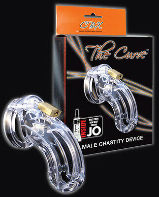 "CB-6000 3 3/4"" Cock Cage Curved Lock Set Authentic Penis Male Chastity - Clear"
