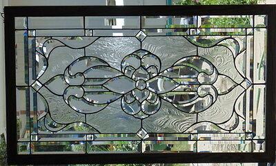 Stained Glass window Beveled  hanging Oak Framed 22 3/4 X 39""
