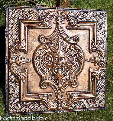 Rare Antique Victorian Ceiling Tin Tile Old Man Winter North Wind Gothic Chic