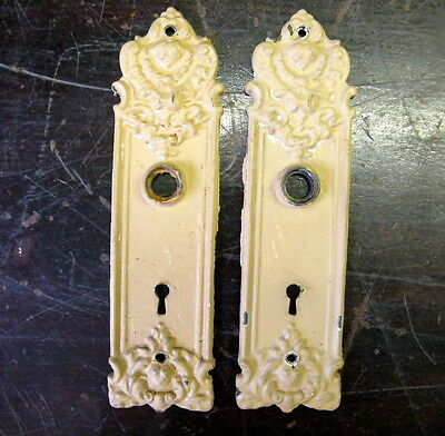 Vtg Pair Antique Door Knob Backplates Yale & Towne FP862 Architectural Hardware