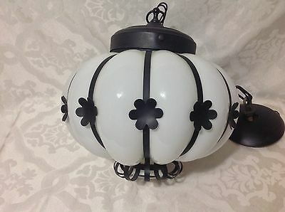 1950 Beautiful Lg Wrought Iron/Millk Glass Globe Hanging Fixture; Excellent Cond