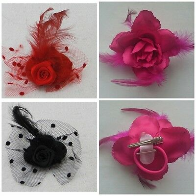Flower Hair Clip Feathers Small Mini Top Hat Fascinator Royal Ascot Race,Wedding