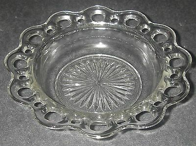 """Anchor Hocking Glass LACE EDGE Old Colony Clear Cereal Bowl 6½"""" Depression"""