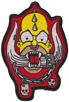 "HOMERHEAD - PATCH - 3"" x 4.5"" Cloth Patch Embroidered Simpsons Homer & Motorhead"