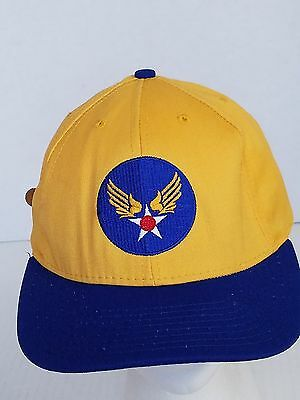 US Air For Aim High Yellow and Blue Military Ball Cap Hat
