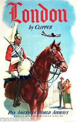 London by Clipper England Great Britain Vintage Travel Advertisement Art Poster