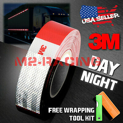"""*3M Red White Conspicuity Tape 2""""x150' CE Approved Reflective Safety Truck RV"""