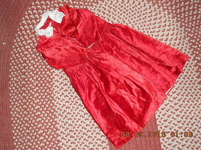 19Th Century Childs Red Velvet Coat Gathered Waist & Lace Collar Good Condition