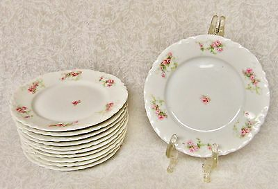 """Lot Of 10 Rare Hab103 6"""" Bread & Butter Plate Habsburg Pink Yellow Flowers Roses"""