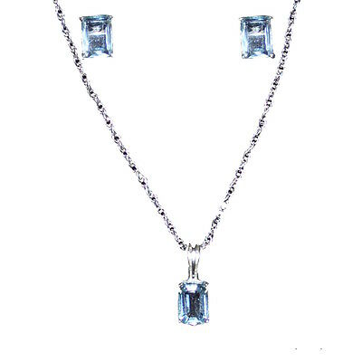 Set Sterling Silver Pendant And Earrings  With Blue Topaz Stones