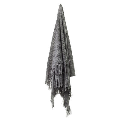 Bianca Declan Charcoal Grey Throw Rug / Bed Runner 130cm x 170cm