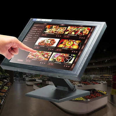 "15"" Touch Screen USB VGA LCD Monitor POS Stand Kiosk Restaurant Cafe Bar Retail"