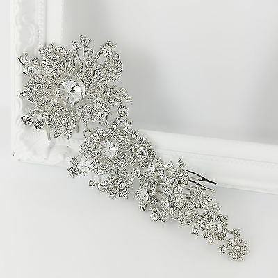 Rhinestone Silver Hair Piece Hairpiece Head Comb Accessories Wedding Bridal