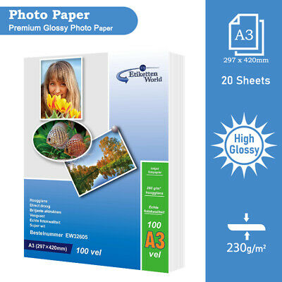 High Glossy Inkjet Printer Photo Paper|20 sheets|A3 230 gsm by Etiketten World