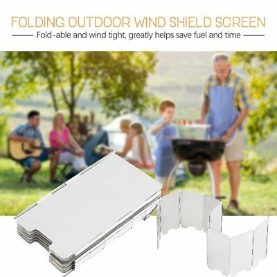 9/10 Plates Fold Outdoor Camping Cooking Burner Stove Wind Shield Screen MC