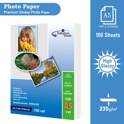 100 Sheets of Glossy Photo Paper Premium Quality 230 gsm A5(210x148 mm)  by EW