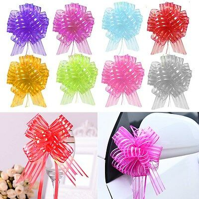 10pcs 50mm Large Organza Ribbon Pull Bows Wedding Car Party Decoration Gift Wrap