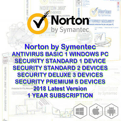 Symantec Norton internet security standard premium 1 2 3 5 PC AntiVirus 2018
