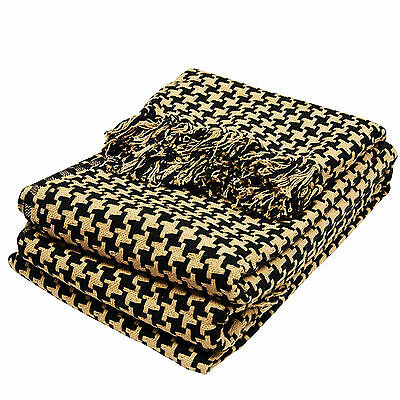 Soft & Warm 100% Cotton Blanket / Throw – Perfect for Living Room – Black Gold