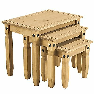 Corona Nest Of Tables Set Mexican Waxed Pine Solid Wood 3 Piece Set Side Table