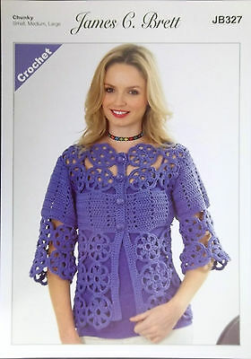 "James Brett Crochet pattern Chunky Ladies Cardigan 32"" - 48"" JB327"