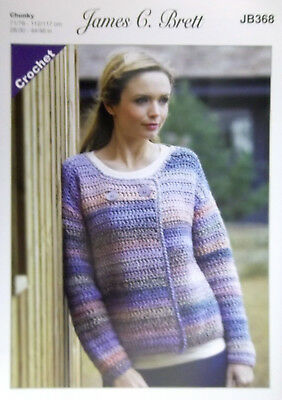 "James Brett Crochet pattern Chunky Ladies Jacket 28"" - 48"" JB368"