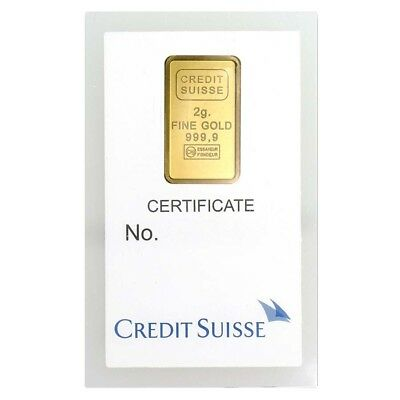 2 gram Credit Suisse Statue of Liberty Gold Bar .9999 Fine (In Assay)