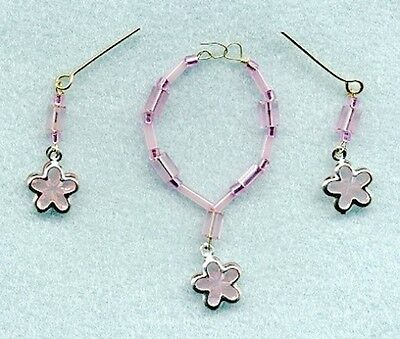 Barbie Doll Jewelry - Pink Flowers W/pink Crystal Beads Necklace & Earrings Set