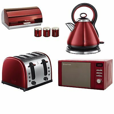 Red 20L Microwave Kettle, 4 Slice Toaster, Breadbin, Tea Coffee Sugar Canisters