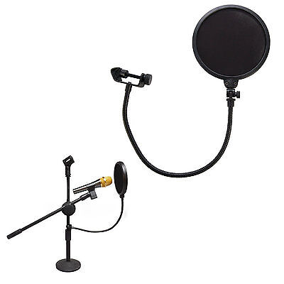 "7.5"" 360° Flexible Gooseneck Holder Studio Mic Microphone Wind Screen Pop Filter"