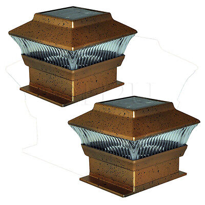 "2 X 4"" Kingfisher Garden Post Solar Powered Fence Lights Bronze Led Outdoor"