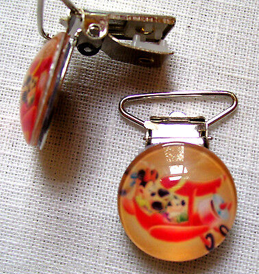 CLIP ATTACHE TÉTINE - MICKEY MINNIE AVION 2,5 x 4 cm  PINCE BRETELLE - CV01
