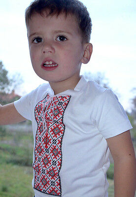 Ukrainian Boy's short sleeve embroidered shirt. Red. 95% cotton. Size 12y