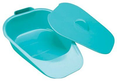 NRS Healthcare Slipper Bed Pan with Lid,  Male Female Hospital Bedpan-Green