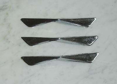 3 Vintage Mid Century Chrome Bowtie Boomerang Cabinet Drawer Pull Handles -4 1/4