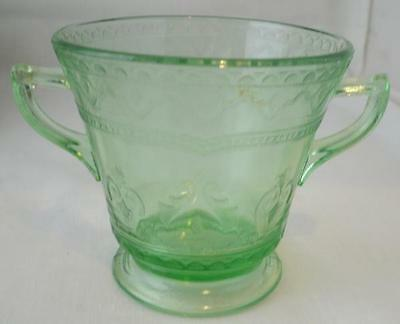Federal Glass - Patricia Green Depression Footed Open Sugar Bowl