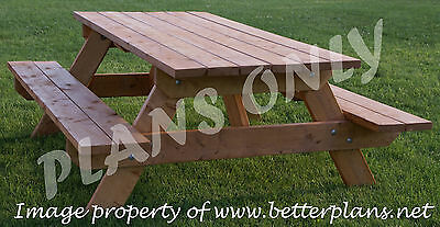 PLANS to build beautiful strong picnic table for 6 (patio funiture, wooden)