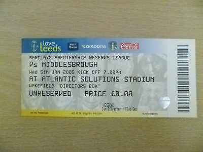 Tickets Reserve League 2005- LEEDS UNITED v MIDDLESBROUGH, 5th Jan (Org, Exc*)
