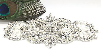 Crystal, Pearl Rhinestone With White Ribbon Flower Applique For Wedding Belt