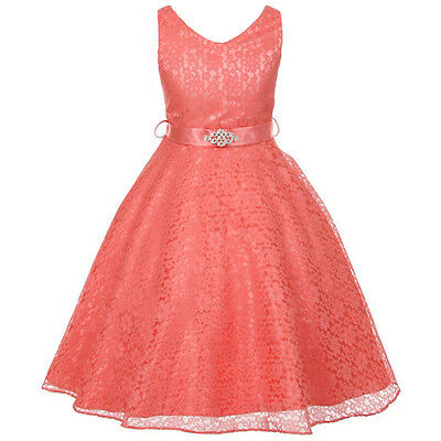 CORAL Lace Flower Girl Dresses Bridesmaid Wedding Birthday Party Pageant Formal